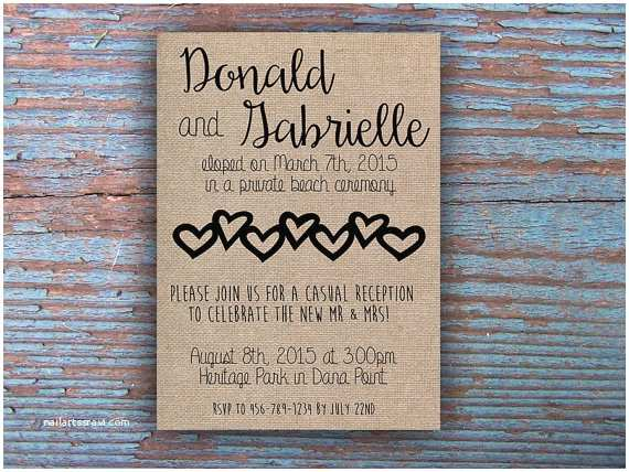 Elopement Party Invitations Printable Elopement Reception Invitation by