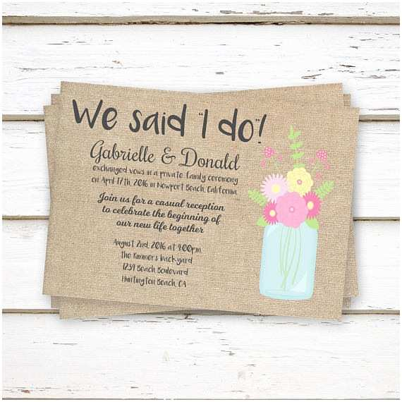 Elopement Party Invitations Printed Elopement Reception Invitations We Said I Do We