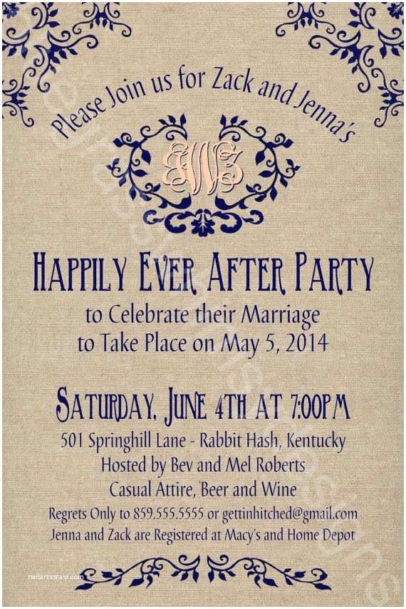 Elopement Party Invitations Rustic Burlap Linen Post Wedding or Elopement