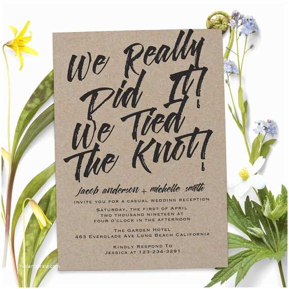 Elopement Party Invitations Rustic Elopement Party Invitations Wedding Reception Cards