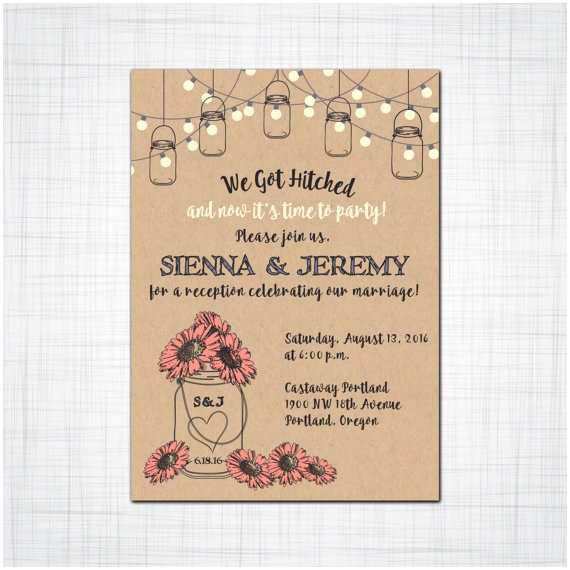 Elopement Party Invitations Rustic Mason Jar Elopement Reception Invitation by