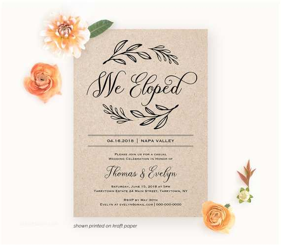 Elopement Party Invitations We Eloped Reception Invitation Template Printable Elopement