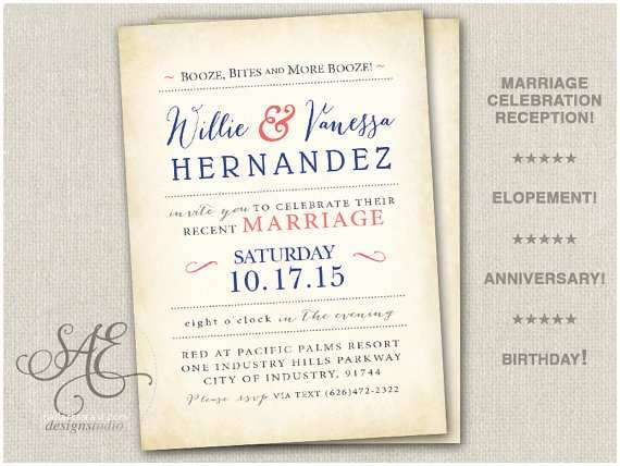 Elopement Party Invitations Wedding Elopement Reception Invitations Invite Announcement