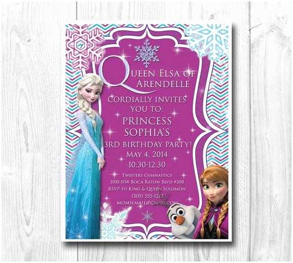Elsa Birthday Invitations Frozen Birthday Invitation Queen Elsa Princess Anna