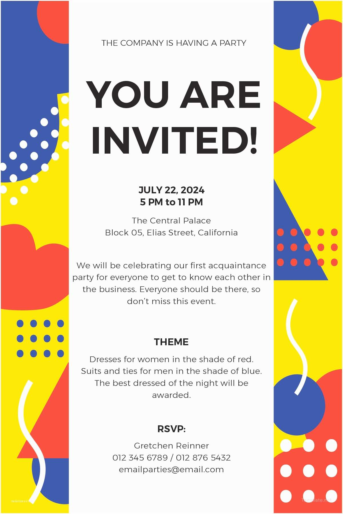 Email Party Invitations Free Email Party Invitation Template In Ms Word Publisher