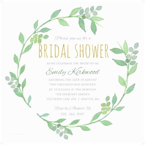 Email Wedding Shower Invitations Greenery Wreath Watercolor Bridal Shower