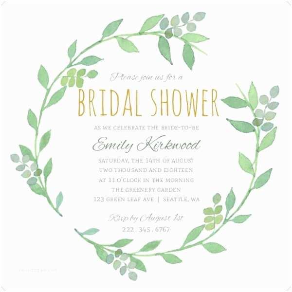 Email Wedding  Invitations Greenery Wreath Watercolor Bridal