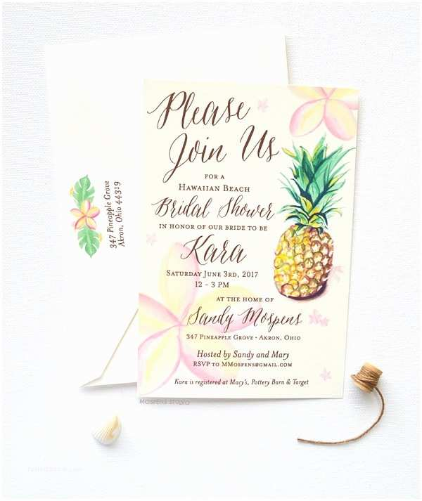 Email Wedding Shower  Watercolor Tropical Pineapple Bridal Shower