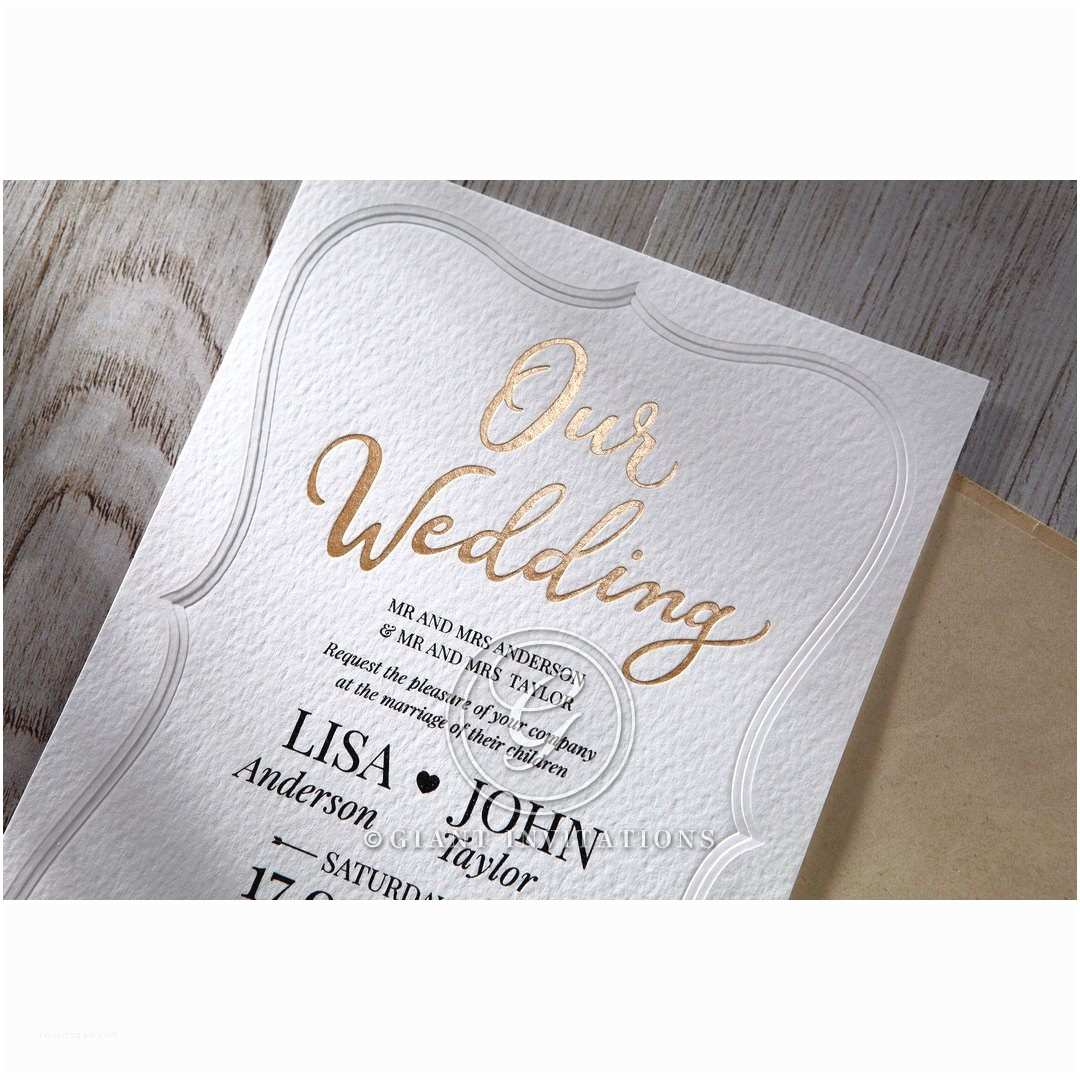 Embossed Wedding Invitations Embossed Frame A Modern Gold Foiled Wedding Invitation