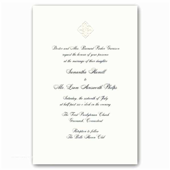 Embossed Wedding Invitations Embossed Motif White Royalty Wedding Invitations