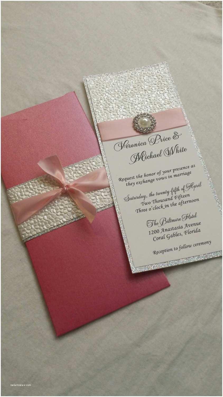 Embossed Wedding Invitations Glitter Wedding Invitation Embossed Pebble Paper Wedding