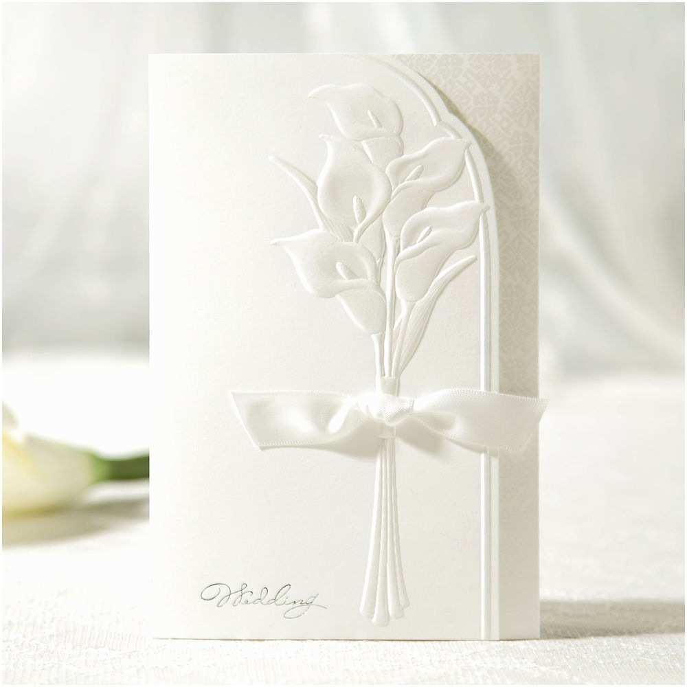 Embossed Wedding Invitations Personalized White Embossed Flower Ribbon Wedding