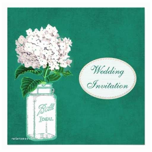 Emerald Green Wedding Invitations Chic Emerald Green Mason Jar & Hydrangea Wedding 5 25x5 25