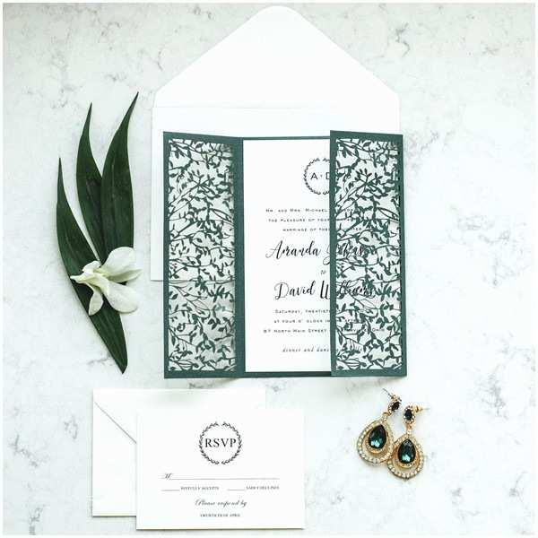 Emerald Green Wedding Invitations Delicate Outdoor Emerald Leaves Mesh Laser Cut Wedding