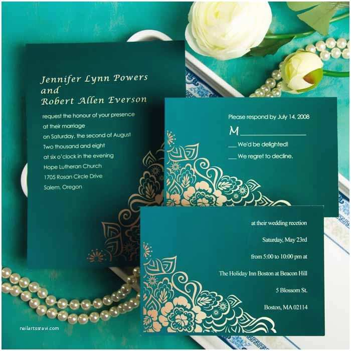 Emerald Green Wedding Invitations Elegant Damask Emerald Green Wedding Invitations Ewi029 as