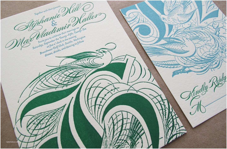 Emerald Green Wedding Invitations Elegant Letterpress Wedding Invitations Emerald Green Aqua