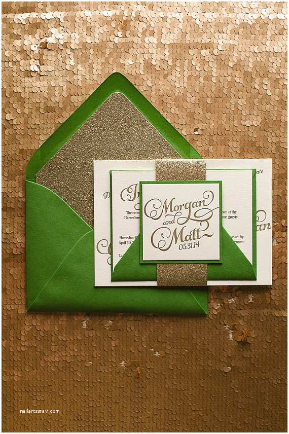 emerald green gold wedding invitation