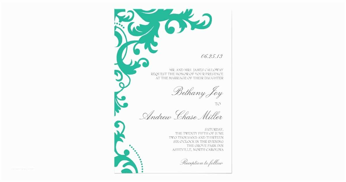 Emerald Green Wedding Invitations Emerald Green Elegant Damask Wedding Invitation