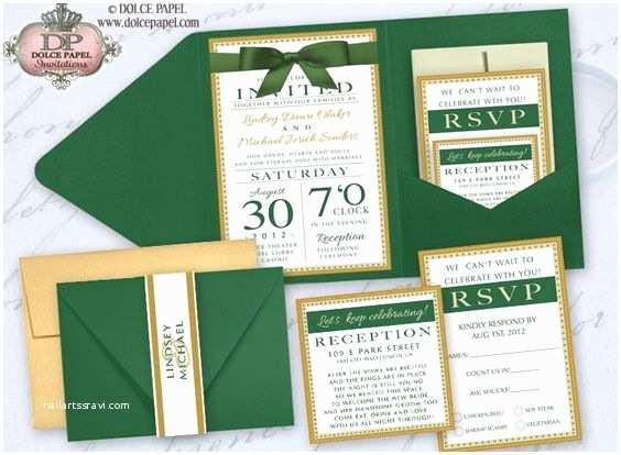 Emerald Green Wedding Invitations Emerald Green Ivory and Gold Metallic Elegant Pocket
