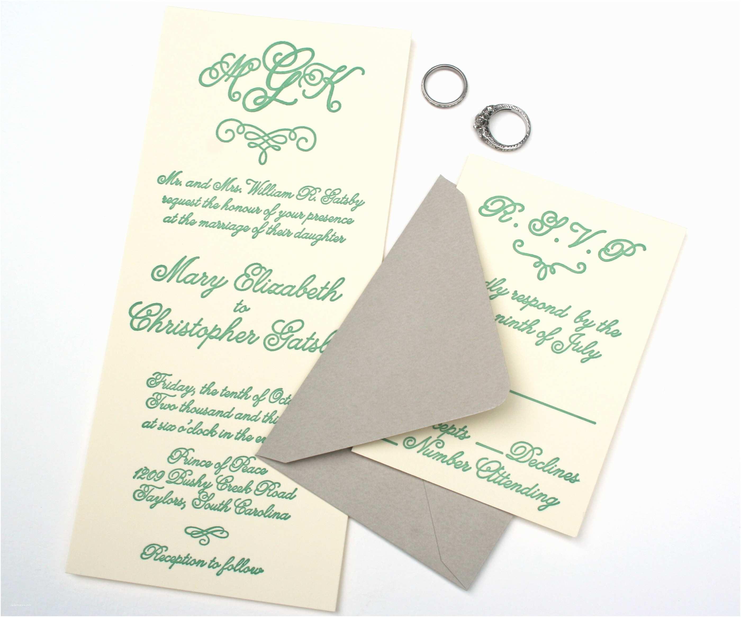 Emerald Green Wedding Invitations Emerald Green Letterpress Wedding Invitation with Monogram