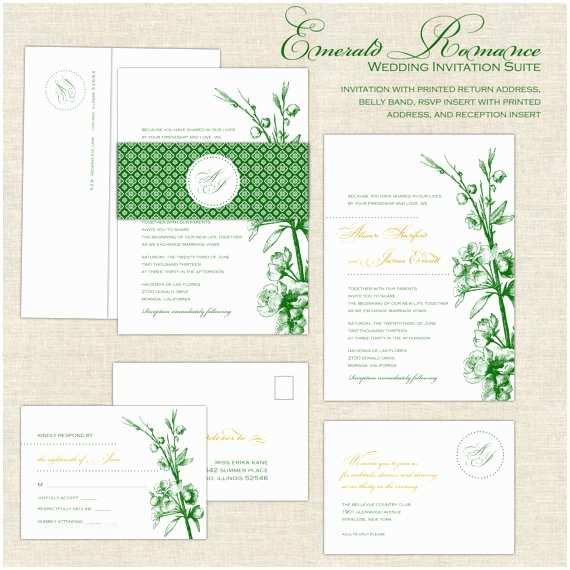 Emerald Green Wedding Invitations Emerald Wedding Invitations Romantic Wedding Invitation