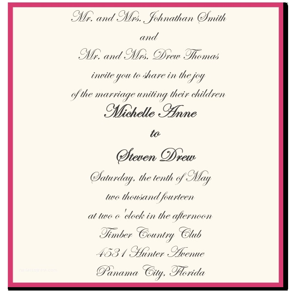 Emily Post Wedding Invitation Wording Wording Sample for Wedding Invitations Wedding Invitation