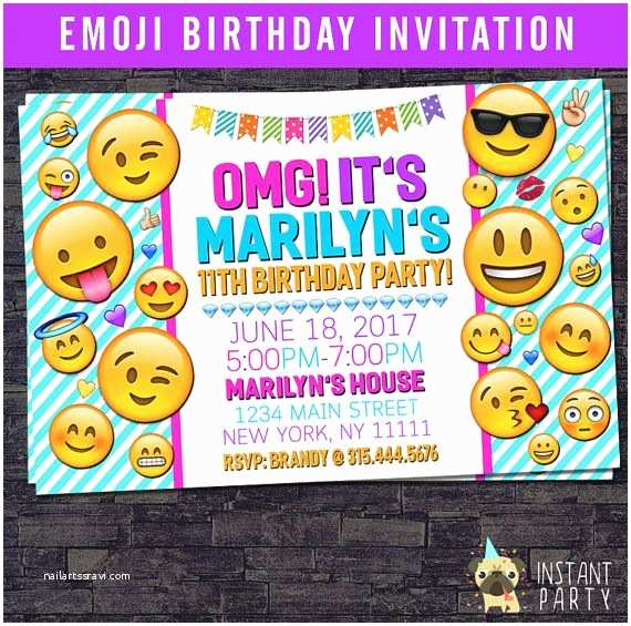 Emoji Birthday Party Invitations Invitation Personalized With Your By