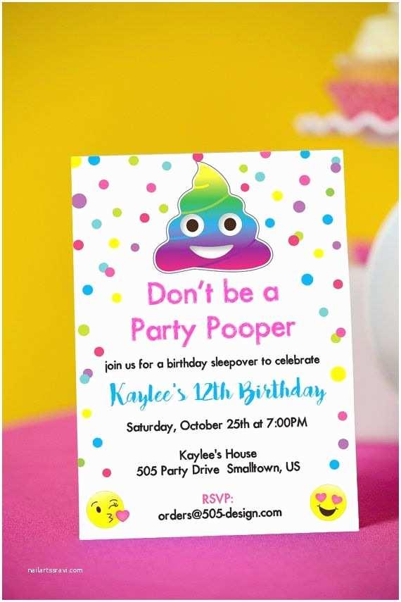 Emoji Party Invitations Birthday Invitation Template Blue