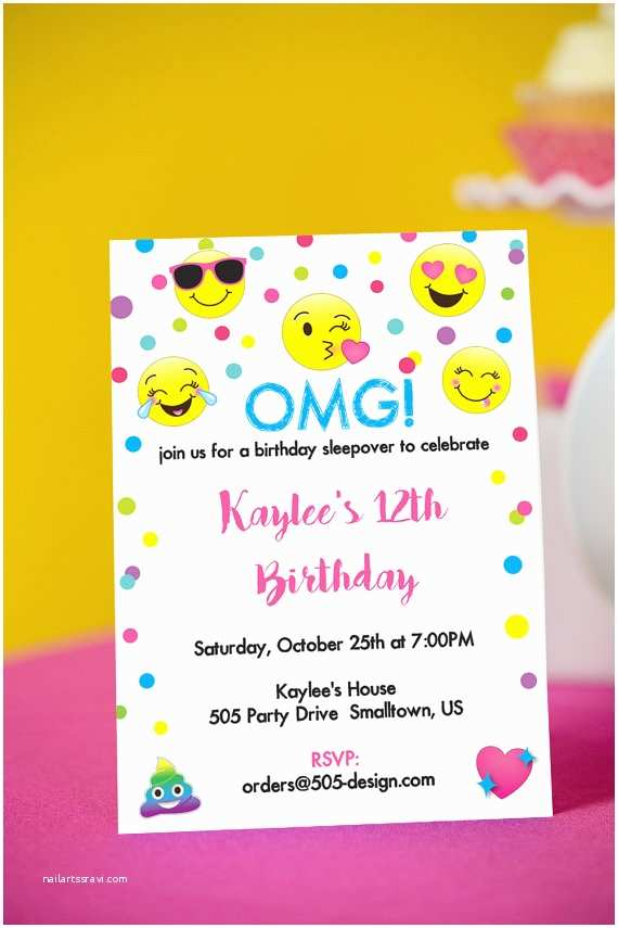 Emoji Party Invitations Emoji Birthday Invitation Instant Download Printable
