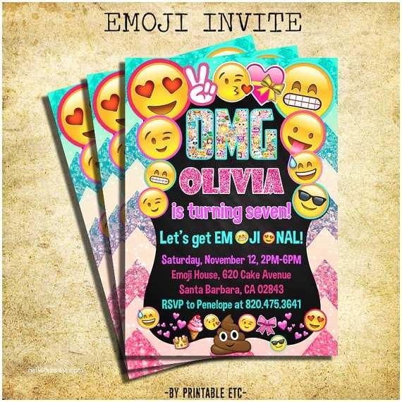 Emoji Party Invitations Emoji Invitation Emoji Icons Birthday Party Glitter Invite