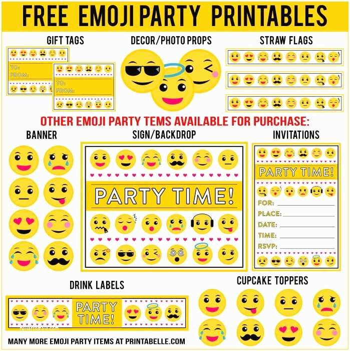 Emoji Party Invitations Free Emoji Printables and More Additional Items Can Be