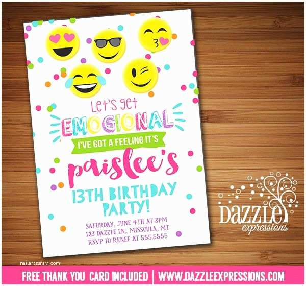 Emoji Party Invitations Printable Tween Emoji Birthday Invitation
