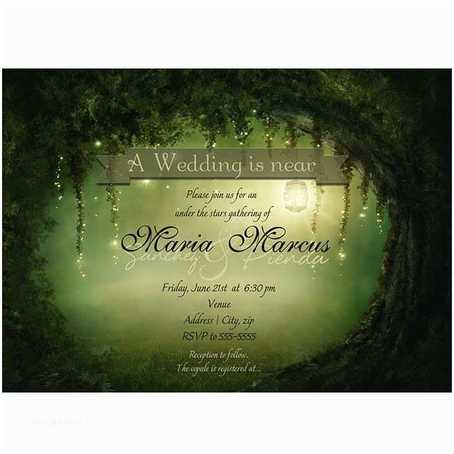 Enchanted forest themed Wedding Invitations Enchanted Romantic Dreamy forest Rustic Wedding Bridal