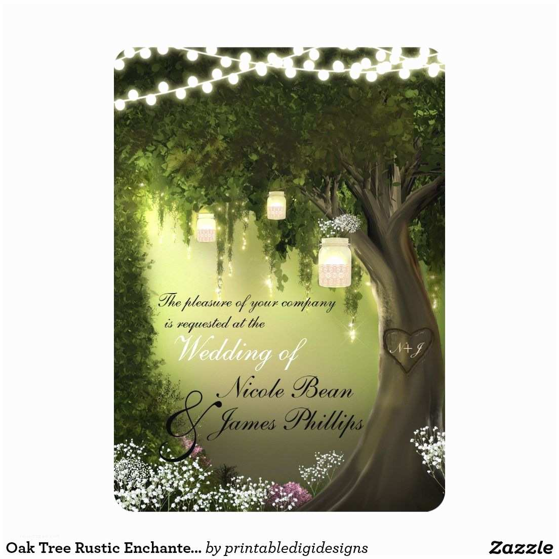 Enchanted forest themed Wedding Invitations Oak Tree Rustic Enchanted forest Garden Invitation