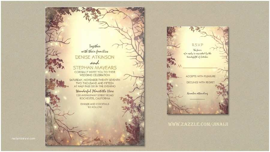 Enchanted forest themed Wedding Invitations Read More – Rustic Romance Wedding Invites