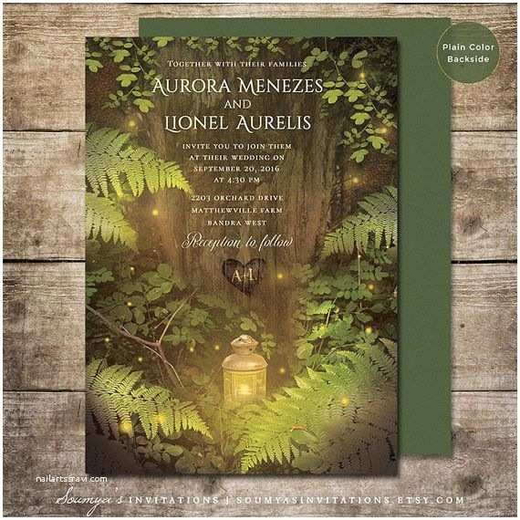 Enchanted Wedding Invitations Enchanted forest Fairy Tale Wedding Invitation Summer