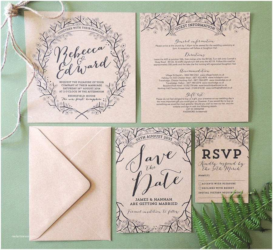 Enchanted Wedding Invitations Enchanted forest Kraft Wedding Invitation by Project