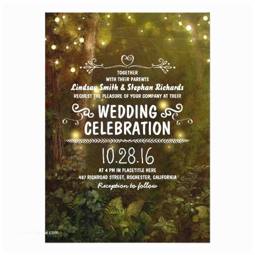 Enchanted Wedding Invitations Enchanted forest String Lights Wedding Invitations