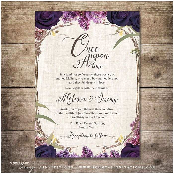 Enchanted Wedding Invitations Enchanted forest Wedding Invitation Purple Wedding