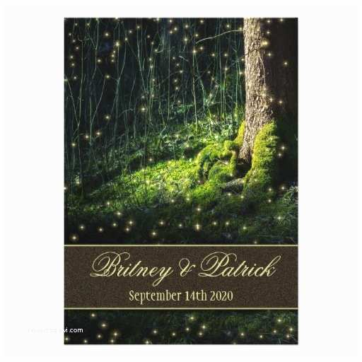 "Enchanted Wedding Invitations Moss Enchanted forest Firefly Wedding Invitations 5"" X 7"