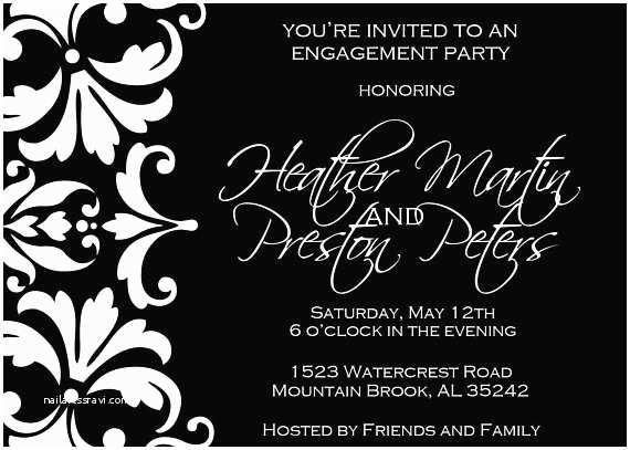Engagement Party Invitations Etsy Black and White Damask Engagement Party Invitation