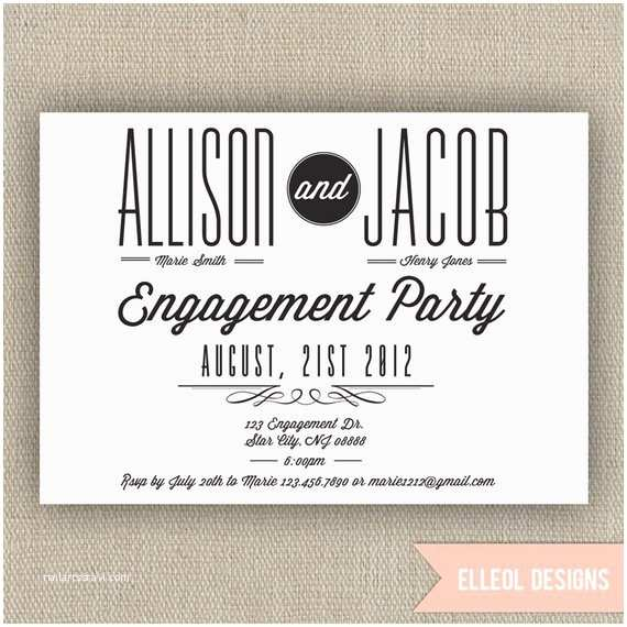 Engagement Party Invitations Etsy Engagement Party Invitation Wedding Announcement by Elleol