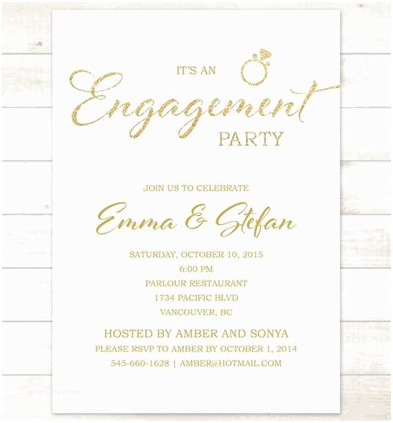 Engagement Party Invitations Etsy White Gold Engagement Party Invitation White and Gold Glitter