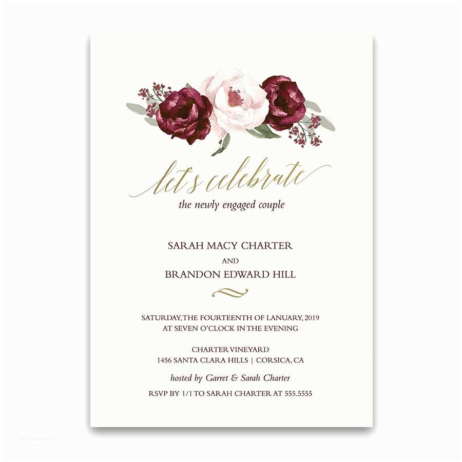 Engagement Party Invitations Floral Engagement Party Invitation Archives Noted