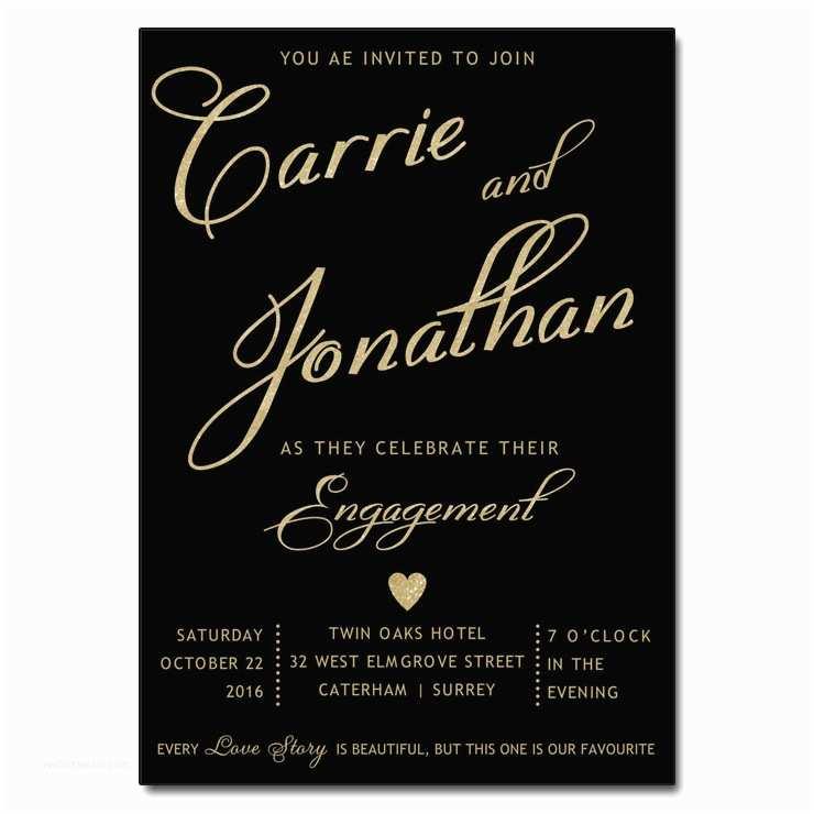 Engagement Party Invitations Templates Black & Gold Engagement Party Invitations
