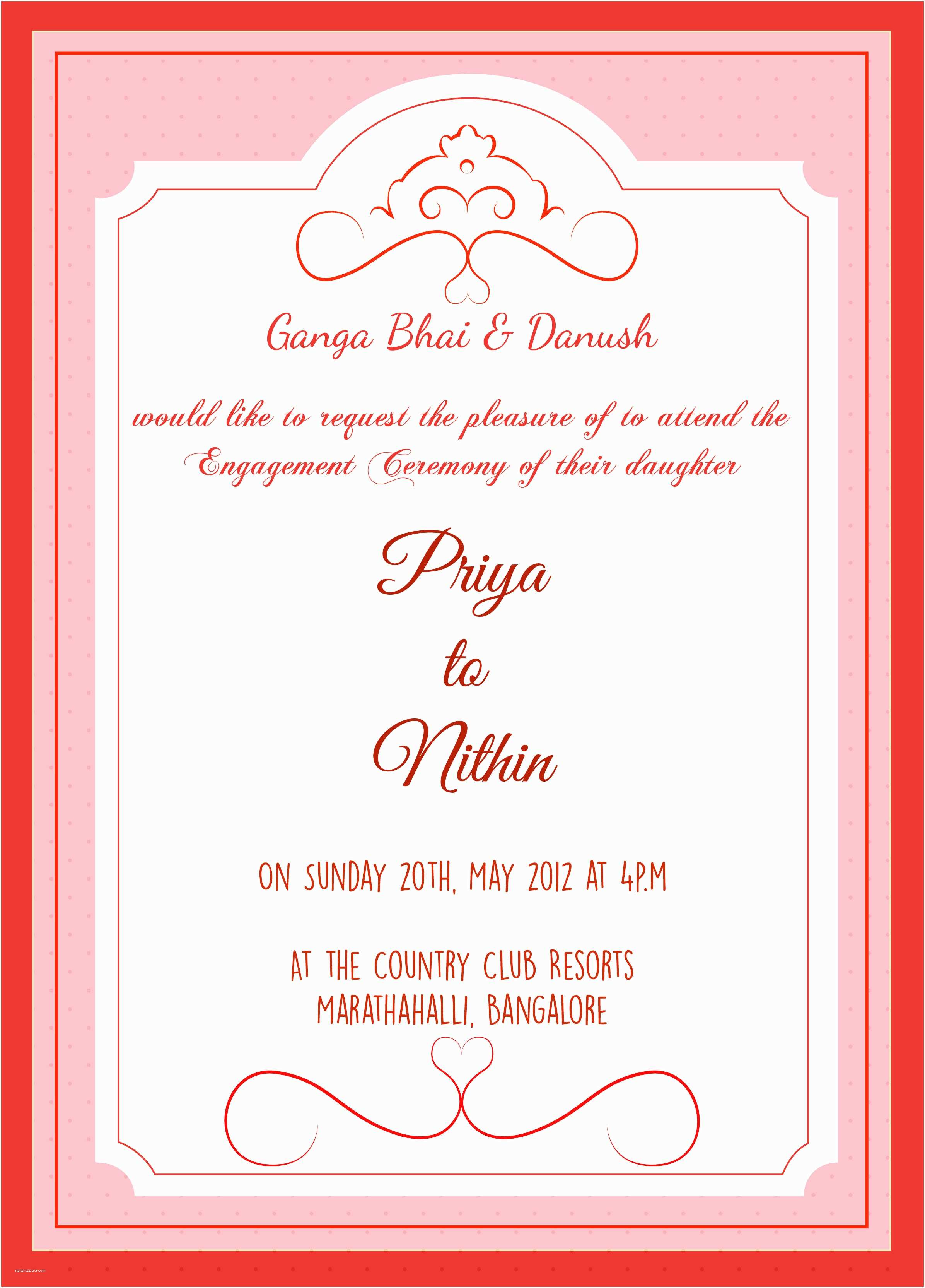 Engagement Party Invitations Templates Engagement Ceremony Invitation Card with Wordings Check It