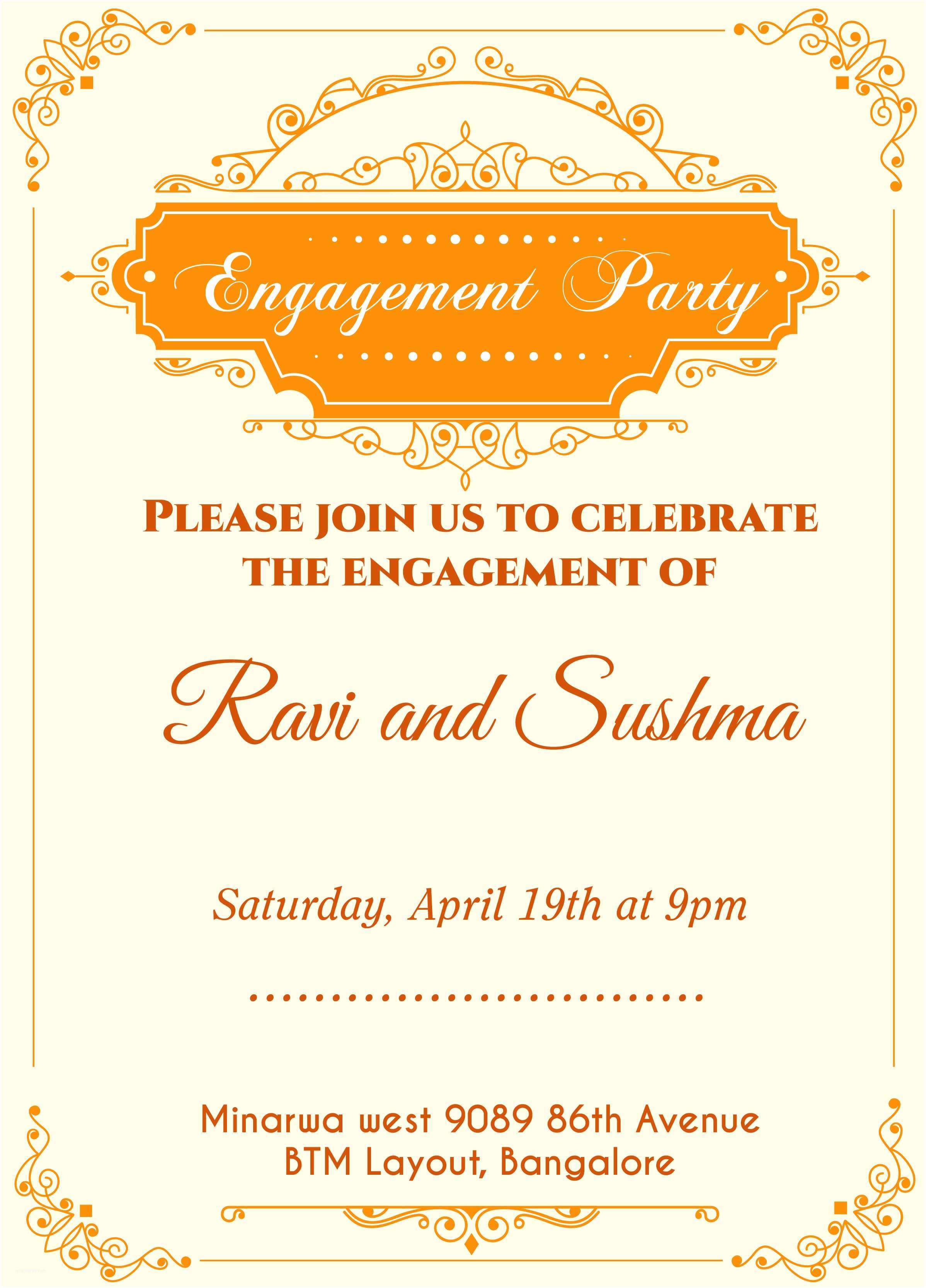 Engagement Party Invitations Templates Indian Engagement Invitation Card with Wordings Check It