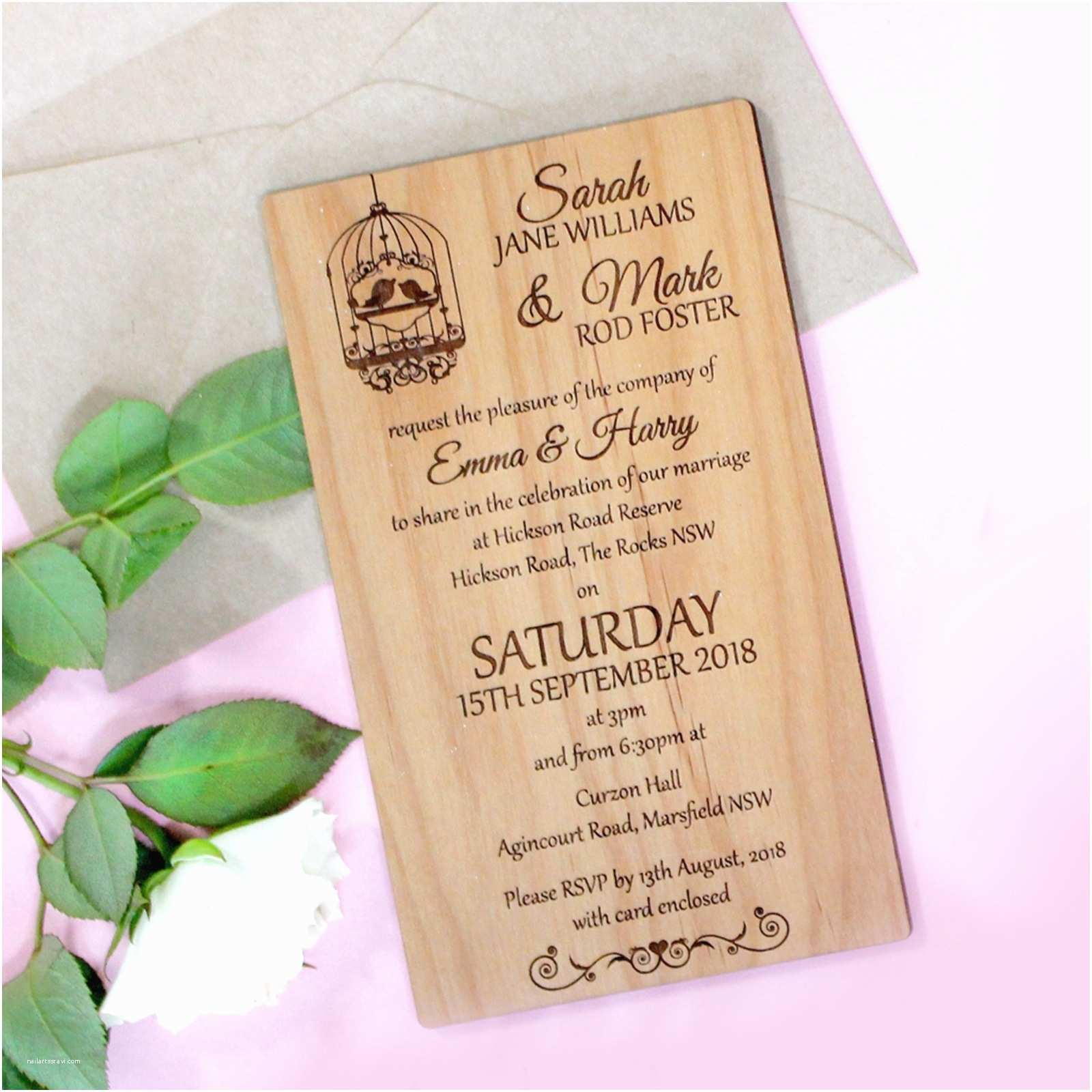 Engraved Wedding Invitations 11b Engraved Wooden Wedding Invitation Package Wooden