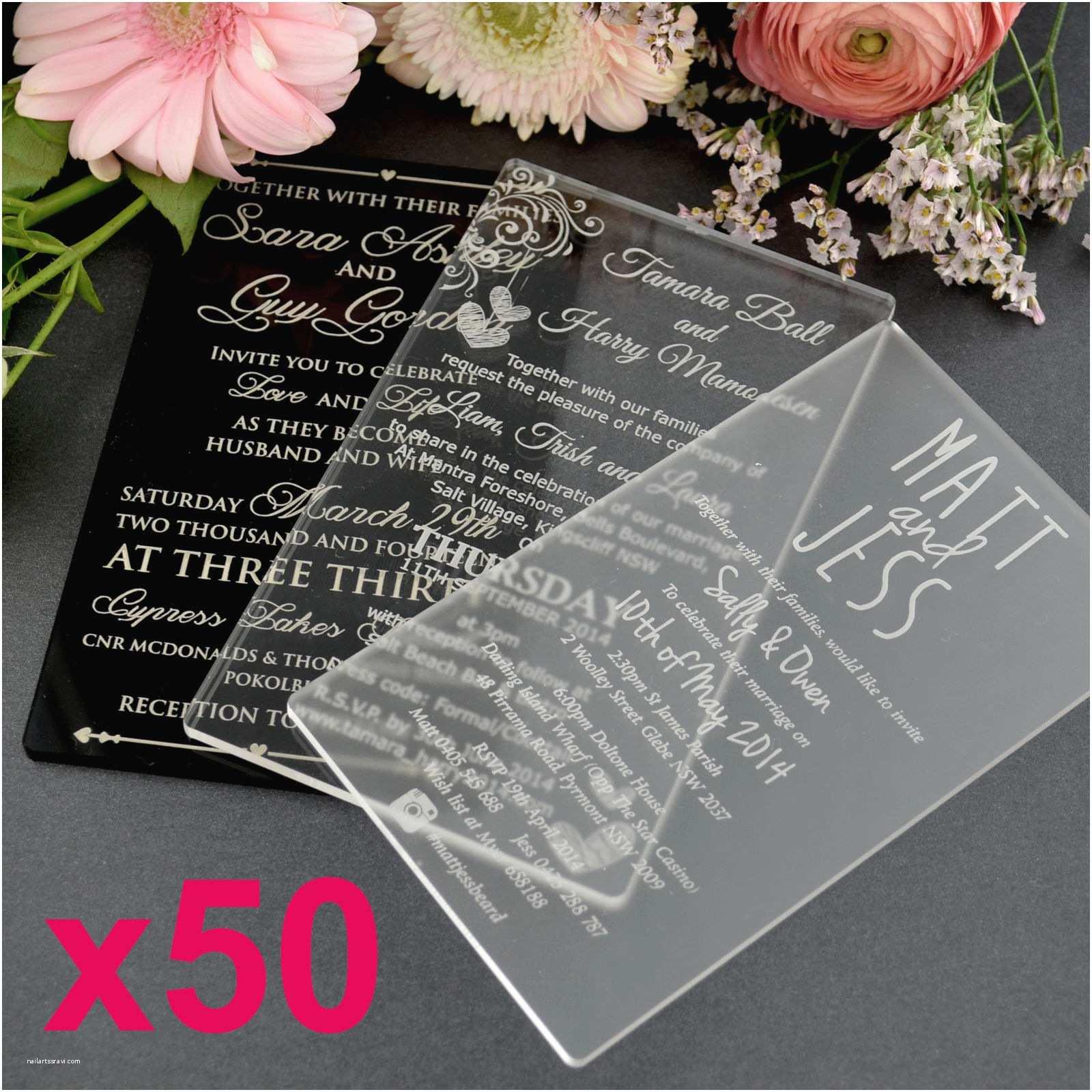 Engraved Wedding Invitations 50x Personalised Favours Acrylic Wedding Invitations 11b