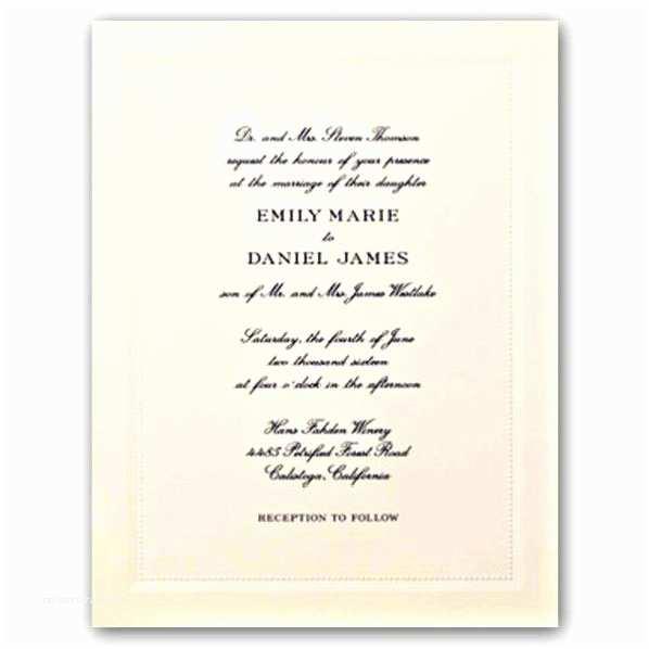 Engraved Wedding Invitations Beaded Frame Ecruwhite Engraved Embassy Wedding